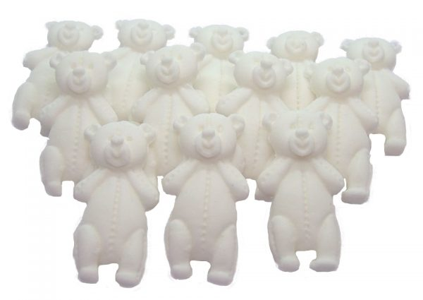 White LT teddys baby shower cupcake toppers