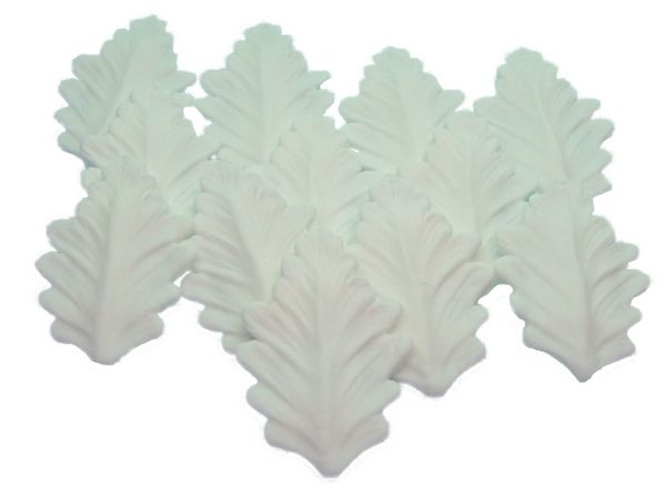 12 White leaves edible decorations
