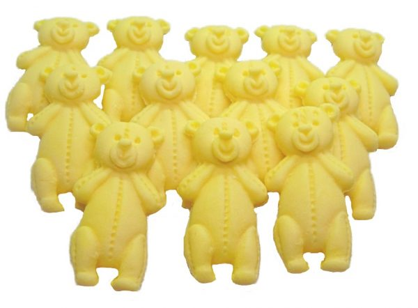 Yellow LT teddys baby shower cupcake toppers