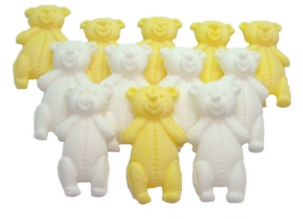 Yellow white LT teddys baby shower cupcake toppers
