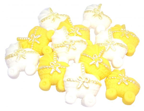 Yellow white baby shower cupcake toppers