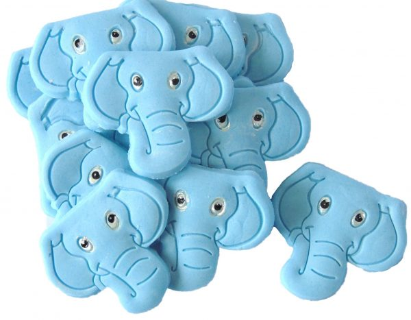 Blue elephants edible cupcake toppers & cake decorations