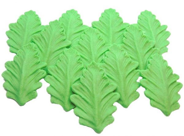 12 Green leaves cake toppers