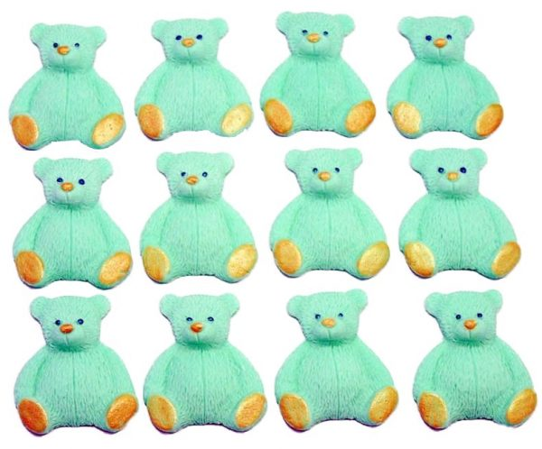 Green new edible teddys cupcake decorations