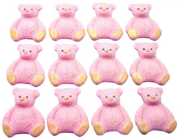 Pink new edible teddys cupcake decorations