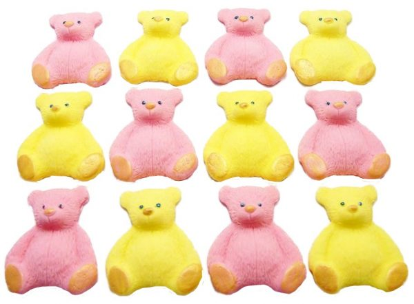 Pink yellow new edible teddys cupcake decorations