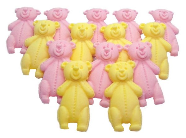 Pink Yellow LT teddys baby shower cupcake toppers