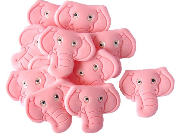 Pink 12 elephants edible cupcake toppers & cake decorations