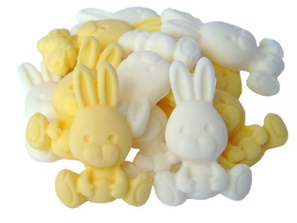 Yellow White rabbits cupcake cake edible topper decorations