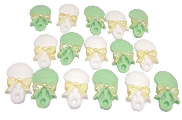 16 Green White F rattles edible cupcake toppers