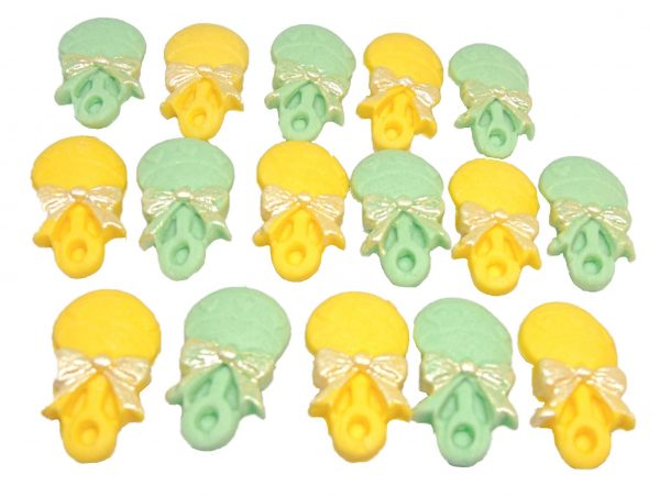 16 green Yellow F rattles edible cupcake toppers