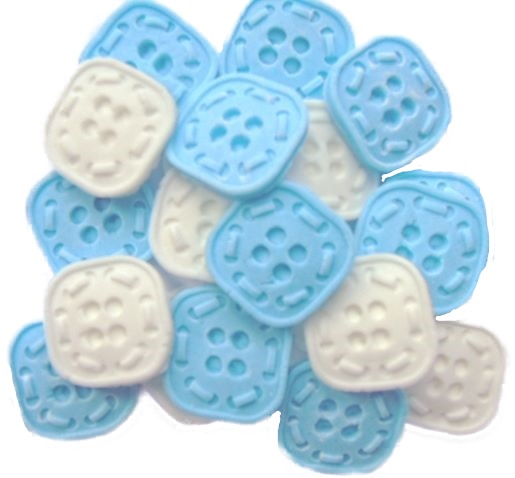 Blue White square Buttons Cupcake topper edible decorations