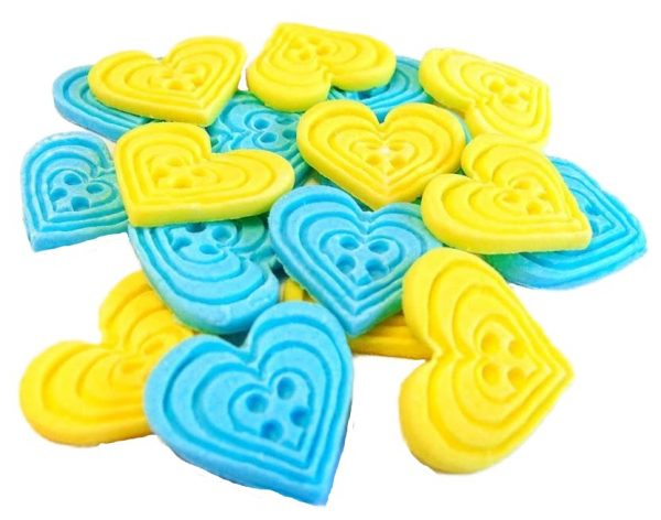 Blue yellow heart-shaped-buttons cupcake toppers cake decorations