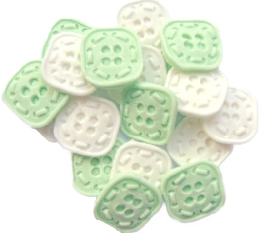 Green White square Buttons Cupcake topper edible decorations