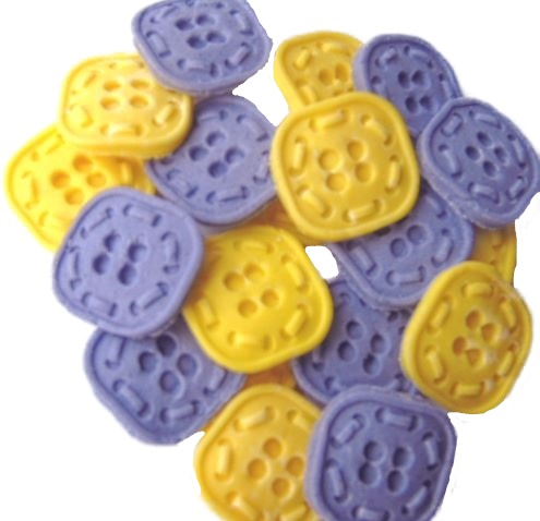 Purple yellow Buttons Cupcake topper edible decorations