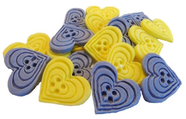 Purple Yellow heart-shaped-buttons cupcake toppers cake decorations