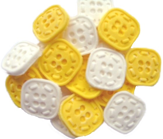 yellow White Buttons Cupcake topper edible decorations
