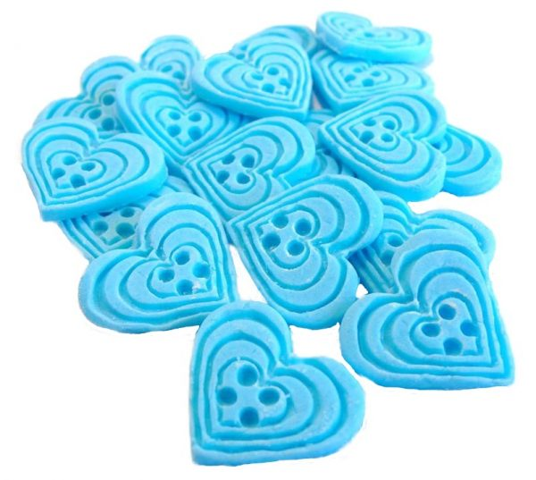 Blue heart-shaped-buttons cupcake toppers cake decorations