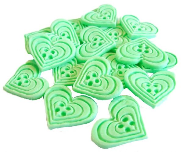 Green heart-shaped-buttons cupcake toppers cake decorations