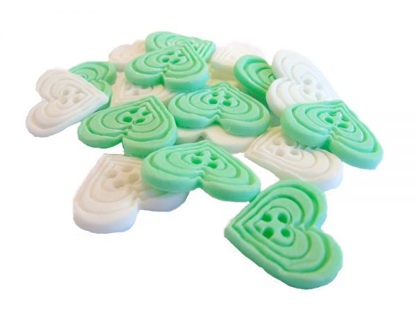 green White heart-shaped-buttons cupcake toppers cake decorations