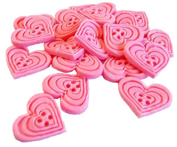 Pink heart-shaped-buttons cupcake toppers cake decorations