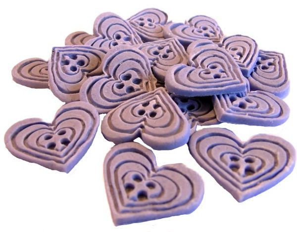 Purple heart-shaped-buttons cupcake toppers cake decorations
