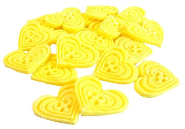 Yellow heart-shaped-buttons cupcake toppers cake decorations