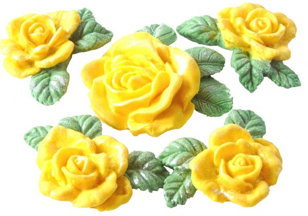 Lemon large rose and garland cake topper decorations