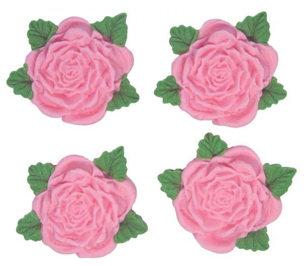 Pink RS Roses edible cake decorations