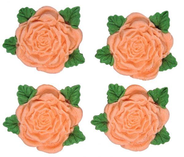 peach RS Roses edible cake decorations