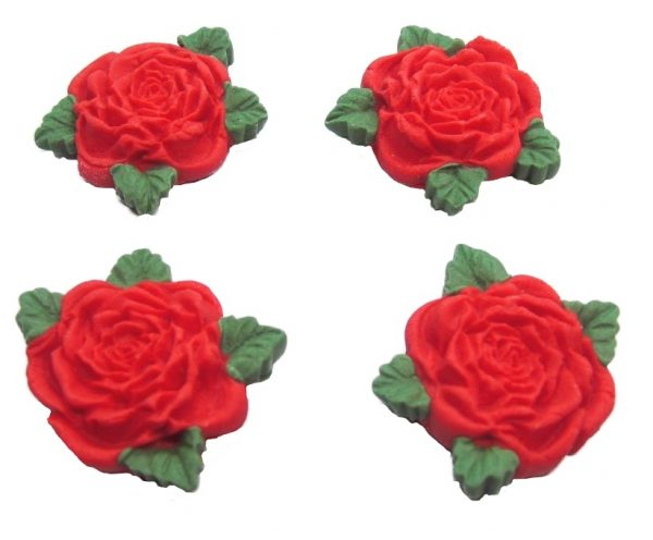 Red RS Roses edible cake decorations