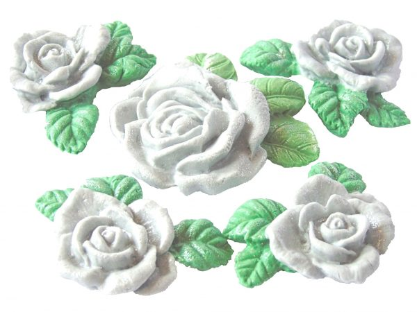 Silver large rose and garland cake topper decorations