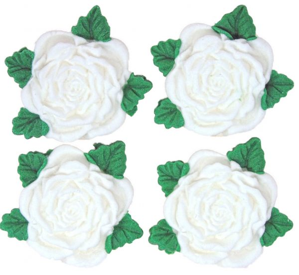 White RS Roses edible cake decorations