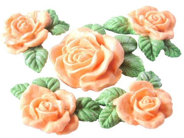 Peach large rose and garland cake topper decorations