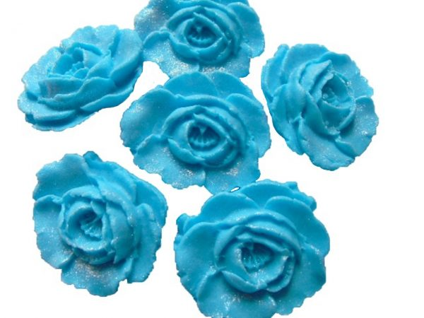 Blue large edible roses cupcake cake topper decorations