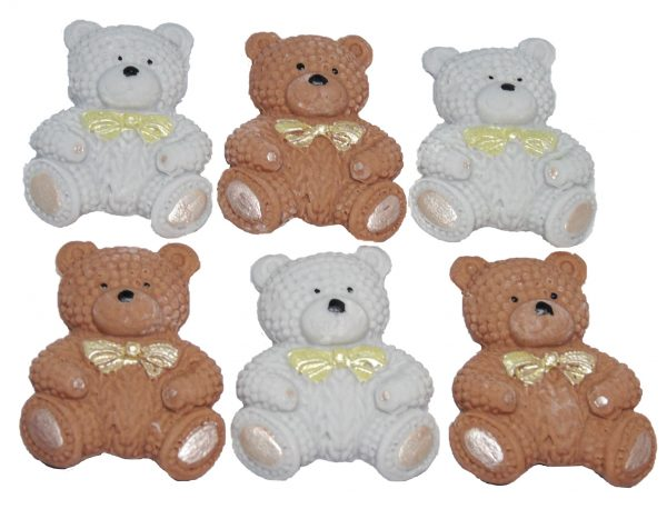 Brown Grey knitted Teddy cupcake toppers and cake decorations