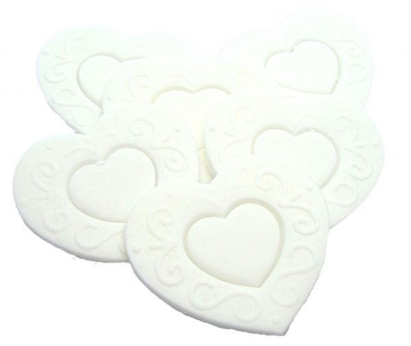 White Large edible hearts cake toppers