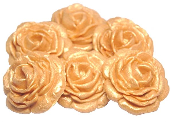 gold large edible rose decorations