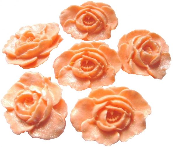 peach large edible roses cupcake cake topper decorations