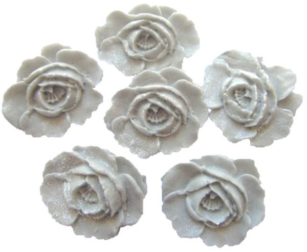 Silver large edible roses cupcake cake topper decorations