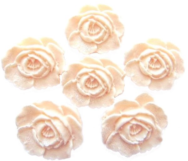 Ivory large edible roses cupcake cake topper decorations