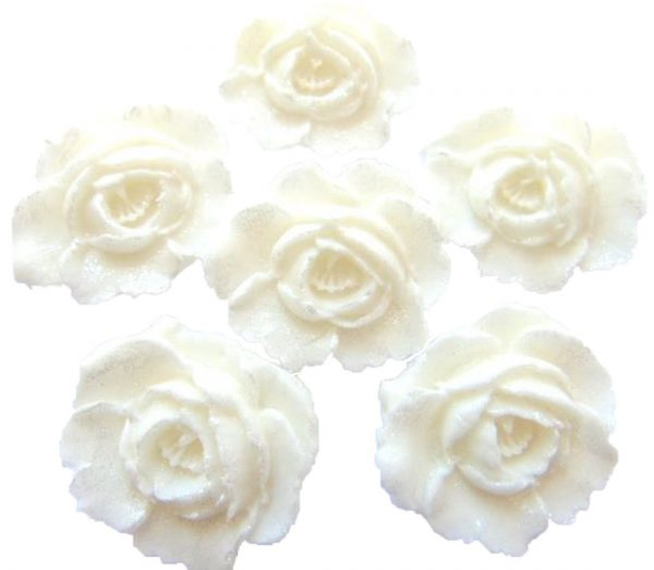 White large edible roses cupcake cake topper decorations