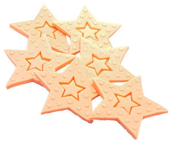 peach Large edible Stars cake toppers