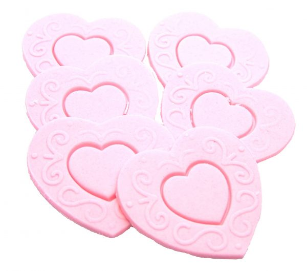 Pink Large edible hearts cake toppers
