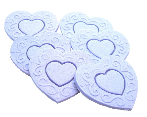 Purple Large edible hearts cake toppers
