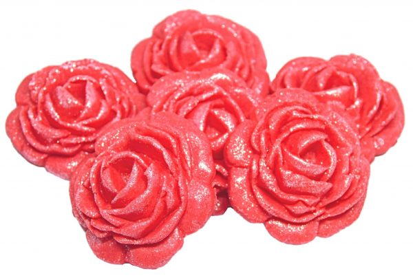 Red large edible rose decorations