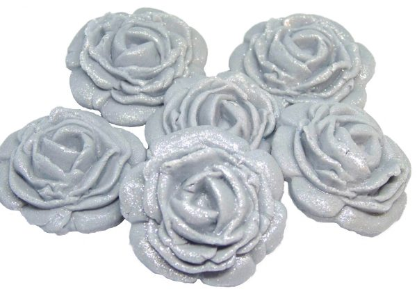 Silver large edible rose decorations