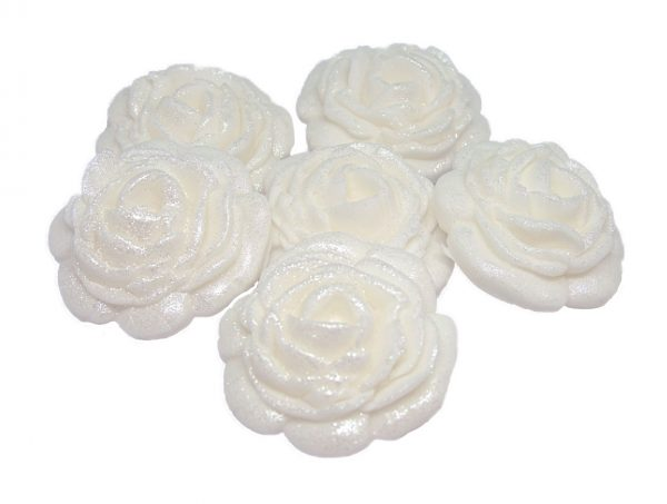 White large edible rose decorations