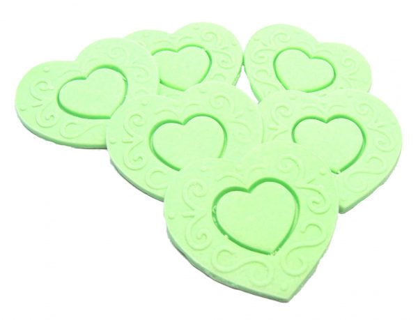 Green Large edible hearts cake toppers