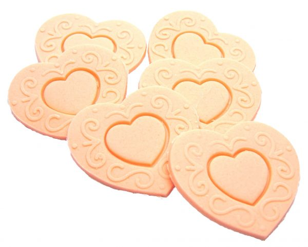 peach Large edible hearts cake toppers